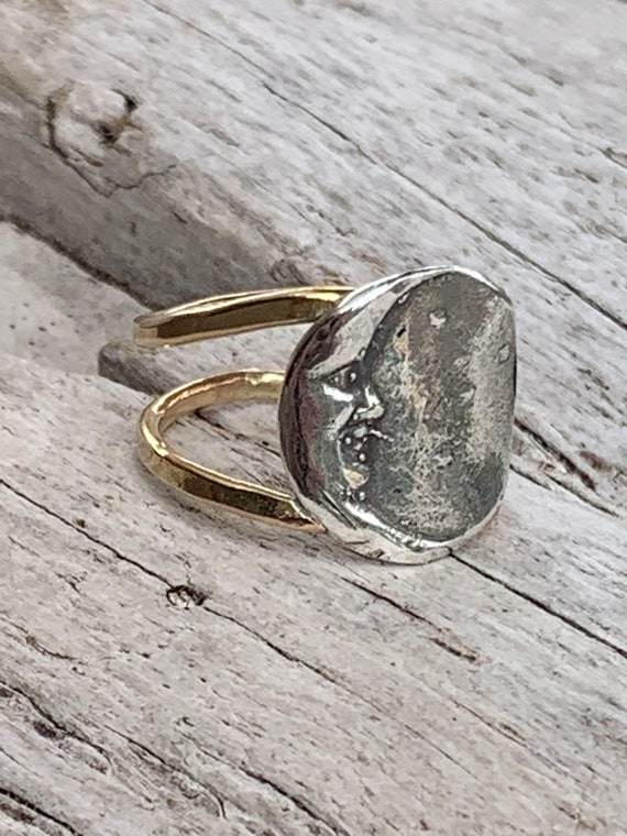 Silver Crescent Moon Ring with Double 14K Gold Fill Band