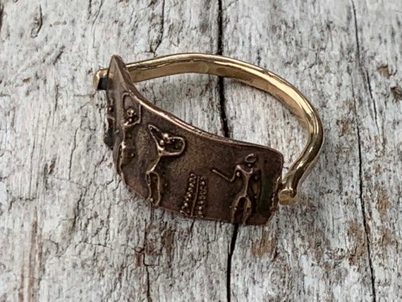 Bronze Cave Art Ring with 14K Gold Fill Band
