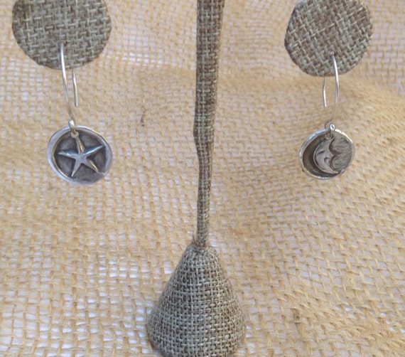 Handmade Sterling Silver Moon and Star Charm Earrings