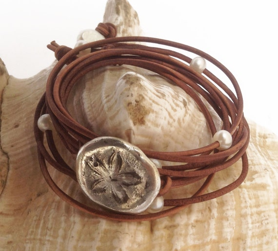 Hand Made Cast Sterling Silver Sand Dollar Wrap Antique Brown Leather Bracelet with six 5mm Pearls and Pearl Closure
