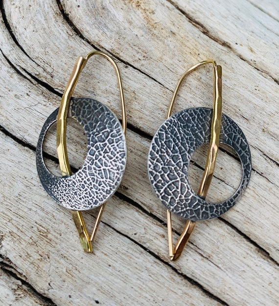Handmade Roller Printed Sterling Silver Circle Earrings Attached to Gold Post