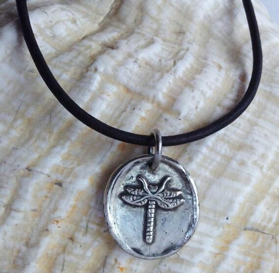 Handmade Sterling Silver Dragonfly Charm Adjustable Leather Bracelet
