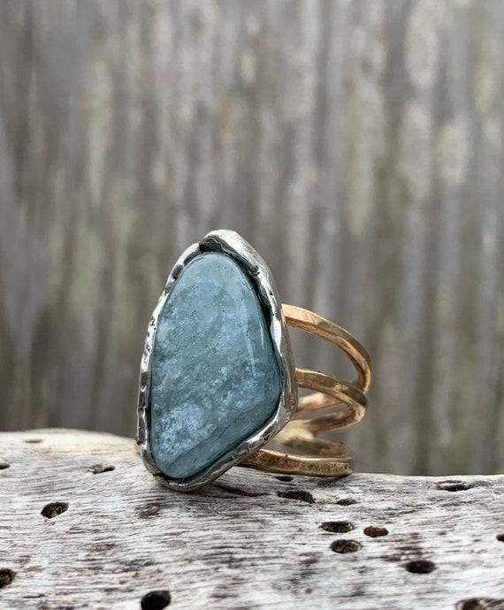 Handmade Mixed Metal Aquamarine Wrap Style Ring