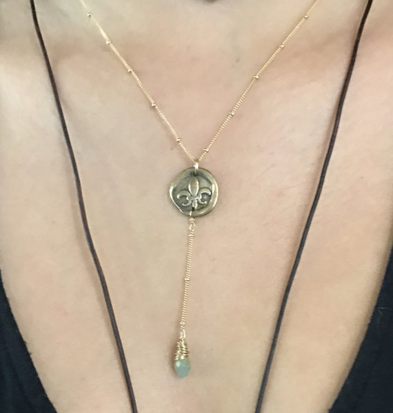 Handmade Gold Fill Fleur de Lis Charm Lariat Delicate Necklace with Aqua Marine Drop