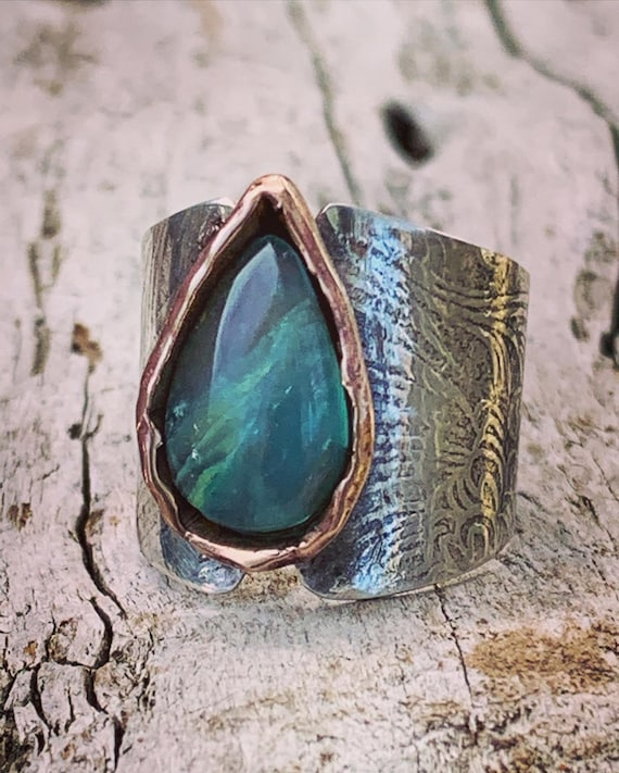 Handmade Mixed Metal Wide Band Ring with Tear Drop Peruvian Opal