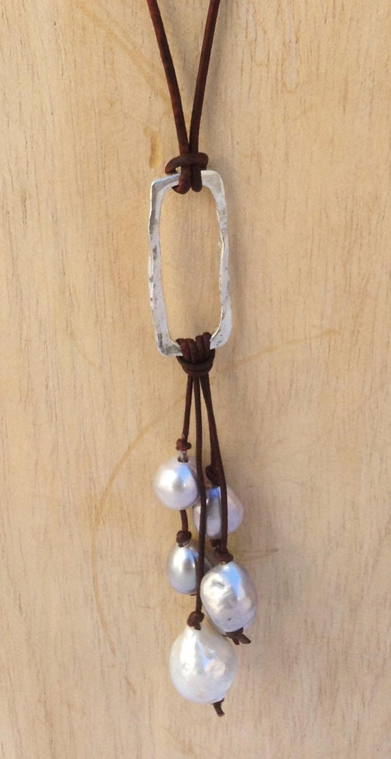 Handmade Sterling Silver Organic Rectangle Leather Adjustable Long Lariat Necklace with Freshwater Pearl Cluster
