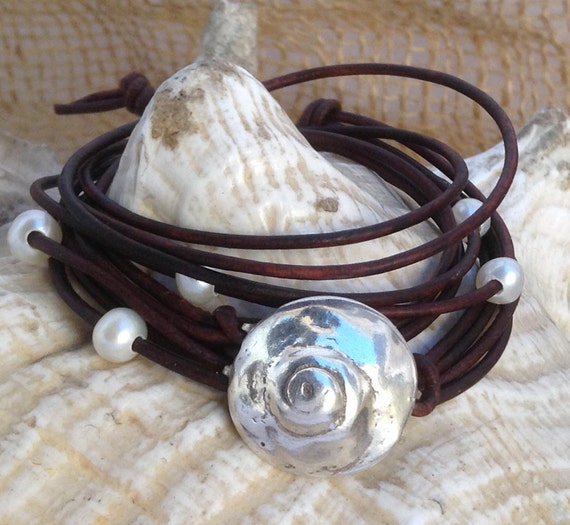 Hand Made Cast Sterling Silver Organic Shell Wrap Antique Brown Leather Bracelet with six 5mm Pearls and Pearl Closure