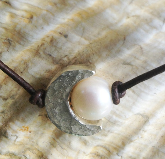 Handmade Hammered Sterling Silver Crescent Moon Choker and Pearl on Antique Brown Leather Cord with Pearl Closure