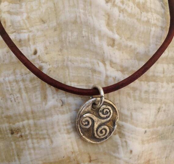 Handmade Sterling Silver Celtic Triple Spiral Charm Adjustable Leather Bracelet