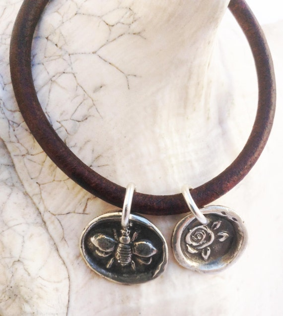 Handmade Sterling Silver Bee & Rose Charms 4MM Leather Bracelet with Magnetic Closure