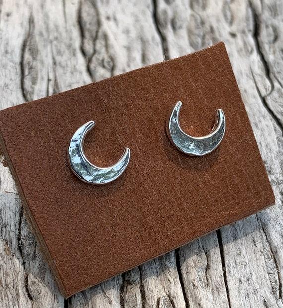 Handmade Sterling Silver Crescent Moon Stud Earrings
