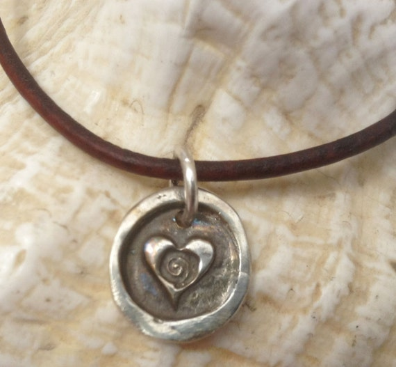 Handmade Sterling Silver Heart Spiral Charm Adjustable Leather Bracelet