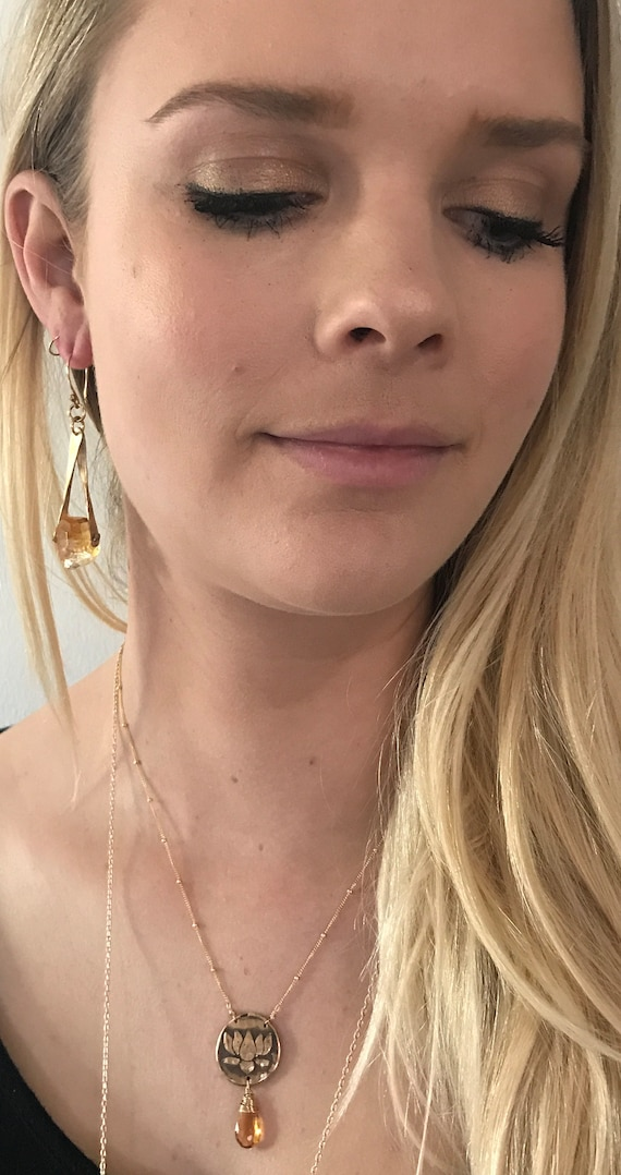 Gold Fill Citrine Drop Earrings