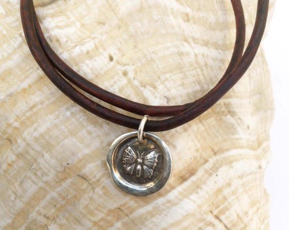 Handmade Sterling Silver Butterfly Charm Double Wrap 3MM Leather Bracelet with Magnetic Closure