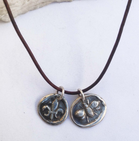 Handmade Sterling Fleur de Lis & Bee 1.5MM Leather Charm Necklace with Fresh Water Pearl Closure