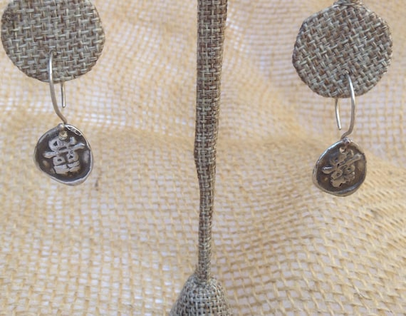 Handmade Sterling Silver Double Happiness Charm Earrings