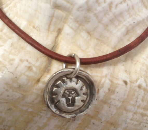 Handmade Sterling Silver Lion Charm Adjustable Leather Bracelet