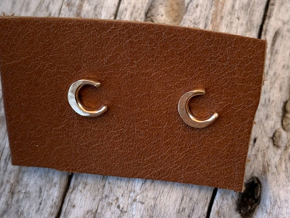 Handmade 14K Gold Fill Crescent Moon Stud Earrings