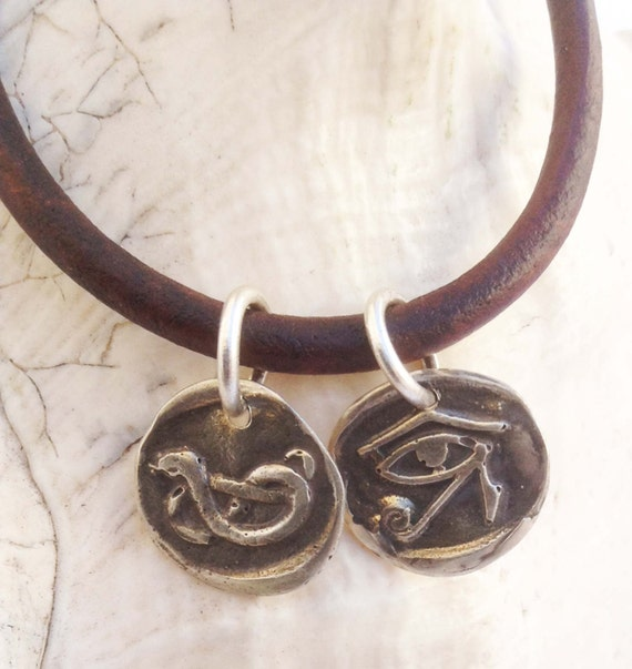 Handmade Sterling Silver Snake & Eye of Ra Charms 4MM Leather Bracelet with Magnetic Closure