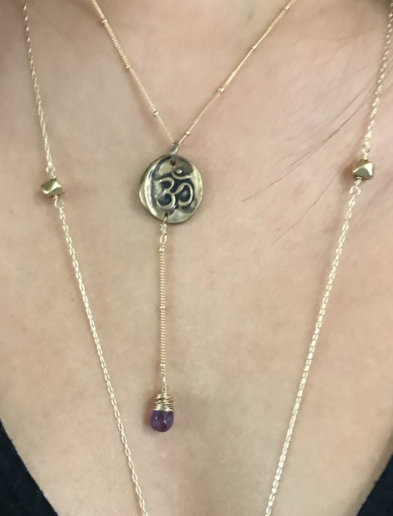 Handmade Gold Fill OM Lariat Delicate Necklace with Amethyst Drop