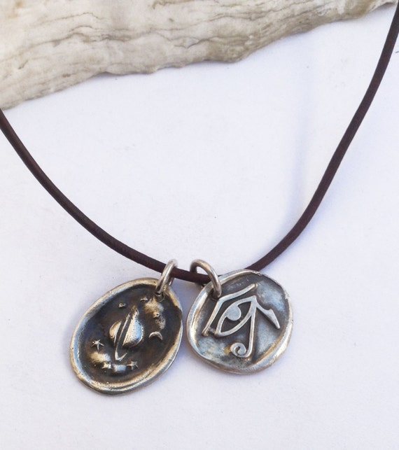 Handmade Sterling Saturn & Eye of Ra Charms 1.5MM Leather Necklace with Fresh Water Pearl Closure