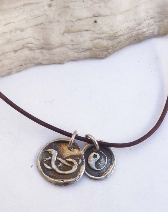 Handmade Sterling Snake & Yin Yang Charms 1.5MM Leather Necklace with Fresh Water Pearl Closure