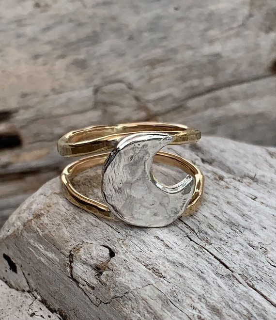 Silver Hammered Moon Ring with Double 14K Gold Fill Bands