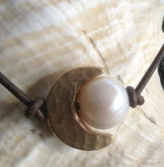 Handmade Hammered Bronze Crescent Moon Choker and Pearl on Antique Brown Leather Cord with Pearl Closure