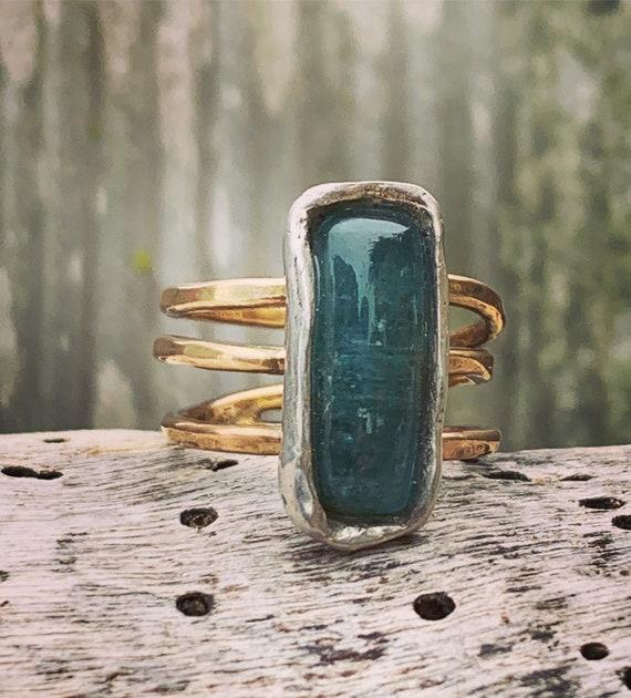 Handmade Mixed Metal Rectangular Green Tourmaline Wrap Style Ring