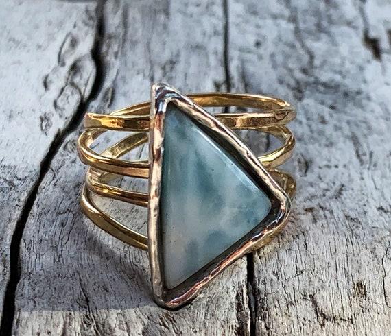 Handmade Mixed Metal Triangular Larimar Wrap Style Ring