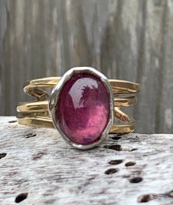 Handmade Mixed Metal Oval Pink Tourmaline Wrap Style Ring