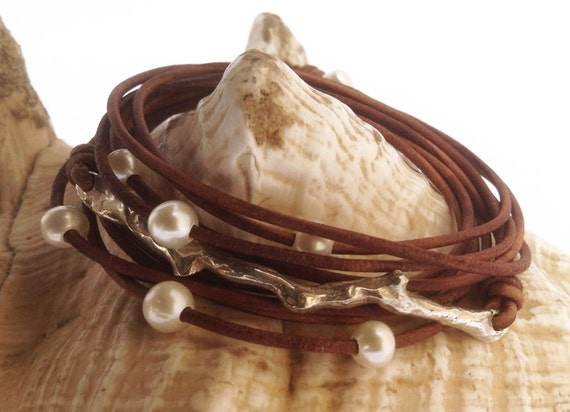 Hand Made Cast Sterling Silver Coral Branch Wrap Antique Brown Leather Bracelet with six 5mm Pearls and Pearl Closure