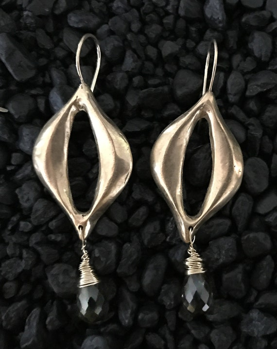 Handmade Bronze and Gold Fill Leaf Earrings with Smokey Quartz Drop