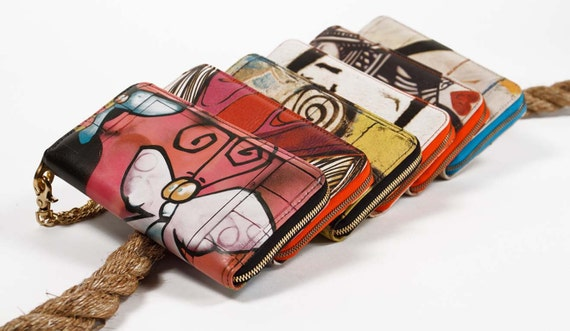 Leather Wallet Butterfly Graffiti Print Zip Around with Chain Wristlet