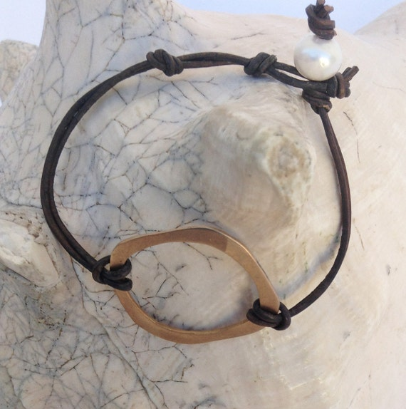 Handmade Leather Bracelet with Fabricated Bronze Organic Circle and Adjustable White Pearl Closure