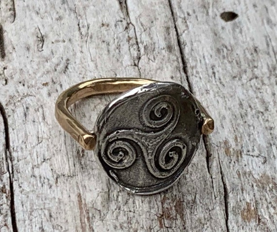 Silver Triple Spiral Charm Ring with 14K Gold Fill Band