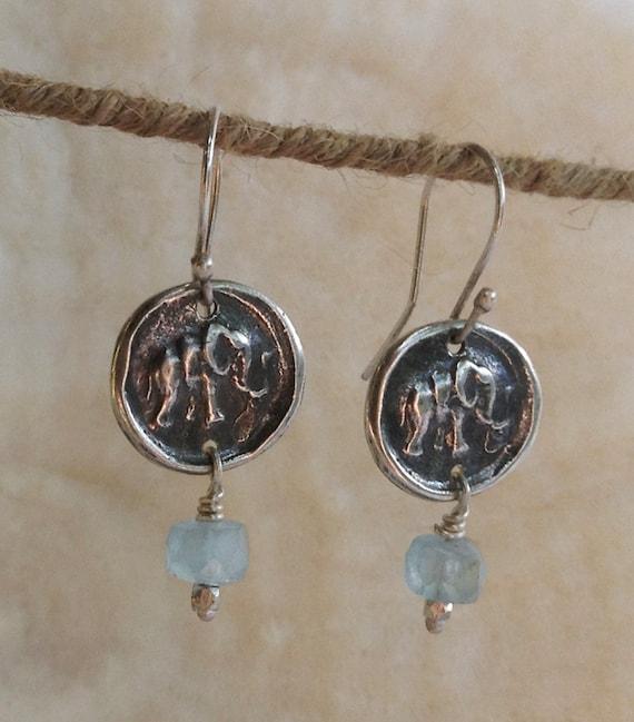 Handmade Sterling Silver Elephant Earrings with Aqua Marine