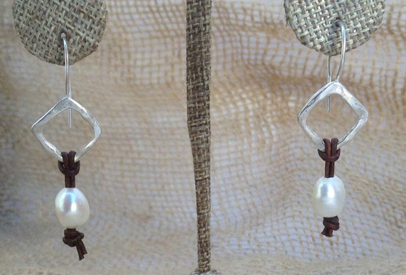 Handmade Sterling Silver Organic Square Earrings with Antique Brown Leather and Silver Baroque Pearls