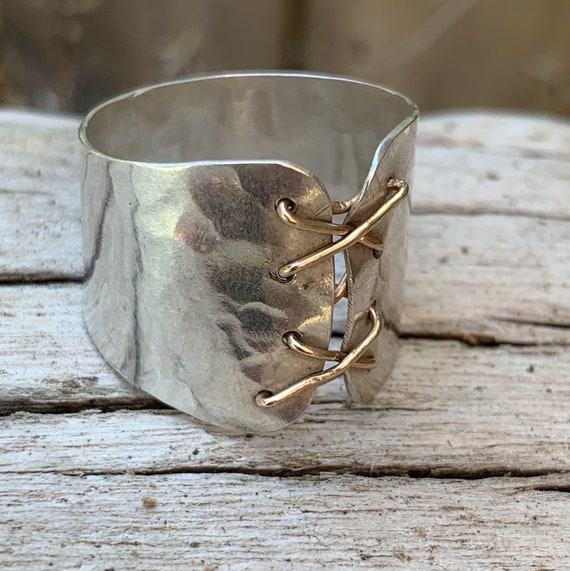 Silver Cuff Corset Ring with Gold Wire Lacing