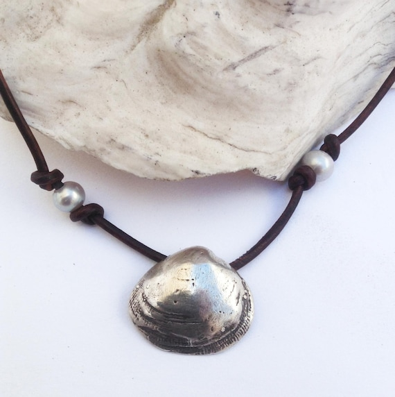 Handmade Sterling Silver Clam Shell Necklace with 4 White Fresh Water Pearls on Antique Brown Leather Cord with Pearl Closure