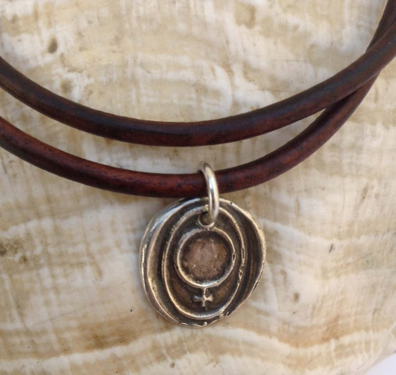 Handmade Sterling Silver Female Symbol Charm Double Wrap 3MM Leather Bracelet with Magnetic Closure