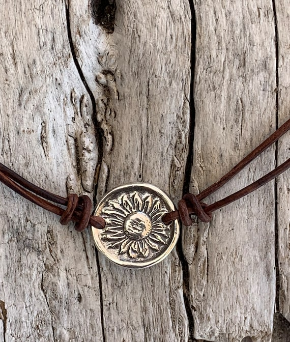 Handmade Organic Sterling Silver Sunflower Leather Choker Necklace