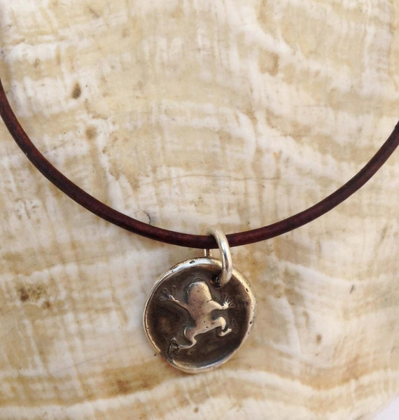 Handmade Sterling Silver Frog Charm Adjustable Leather Bracelet