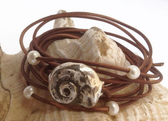 Hand Made Cast Sterling Silver Weathered Shell Wrap Antique Brown Leather Bracelet with six 5mm Pearls and Pearl Closure