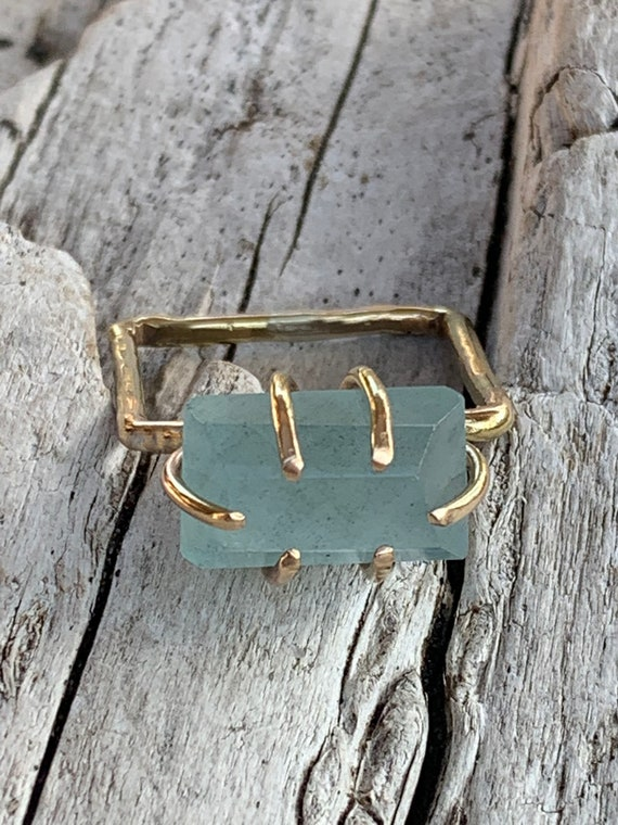 Handmade 14K Gold Fill Freeform Faceted Aquamarine Square Ring