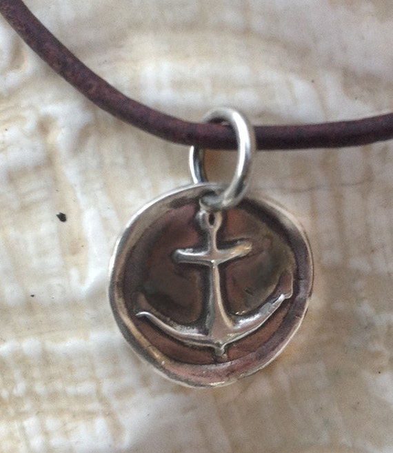 Handmade Sterling Silver Anchor Charm Adjustable Leather Bracelet