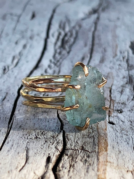 Handmade 14K Gold Fill Raw Aquamarine Wrap Style Ring