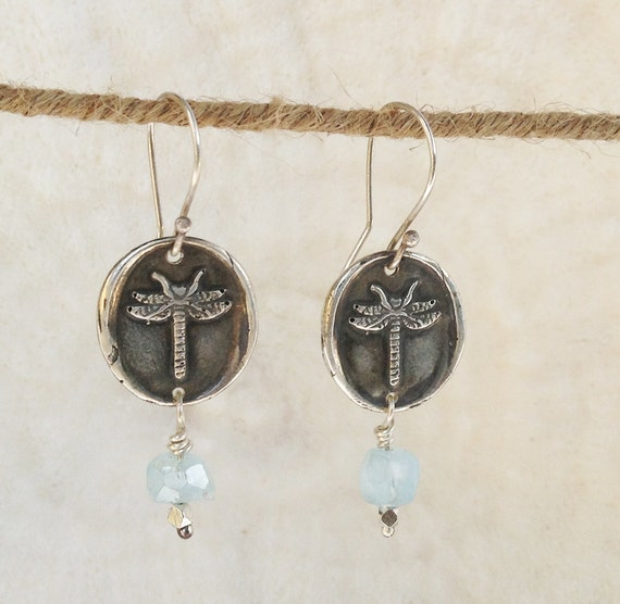 Handmade Sterling Silver Dragonfly Earrings with Aqua Marine