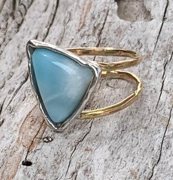 Handmade Mixed Metal Freeform Triangular Larimar Wrap Style Ring