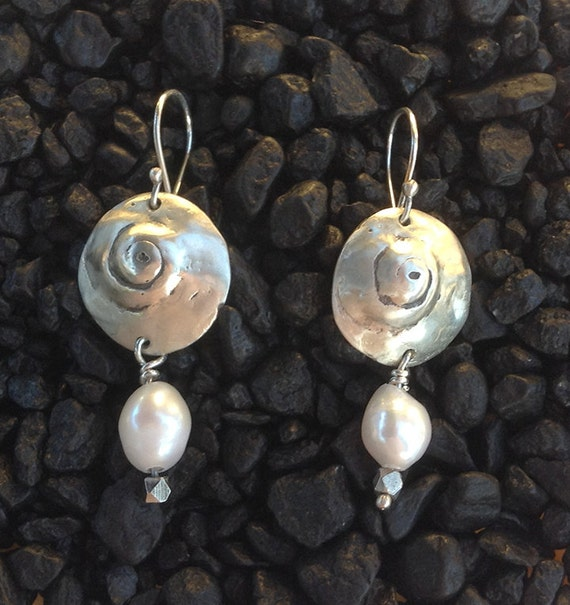 Handmade Sterling Silver Shell Earrings with Baroque Pearls